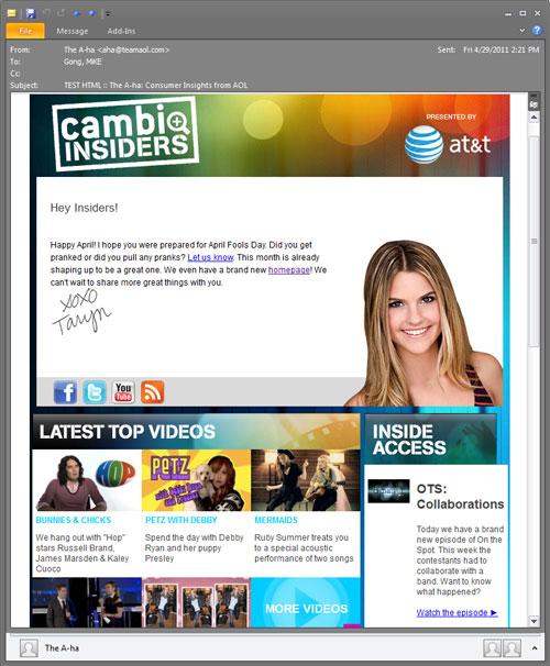 AT&T / Jonas Brothers E-Mail Marketing